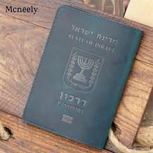 Crazy horse couro do vintage israel genuíno couro passaporte capa titular do cartão masculino caso passaporte viagem unisex carteira