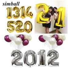 Ballon à chiffres en aluminium or et argent, 1 pièce, 16