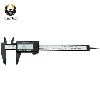 цена на FGHGF 150mm 6 Black Caliper Digital Electronic Digital Pachometer Carbon Fiber Vernier Gauge Micrometer Measuring Tool