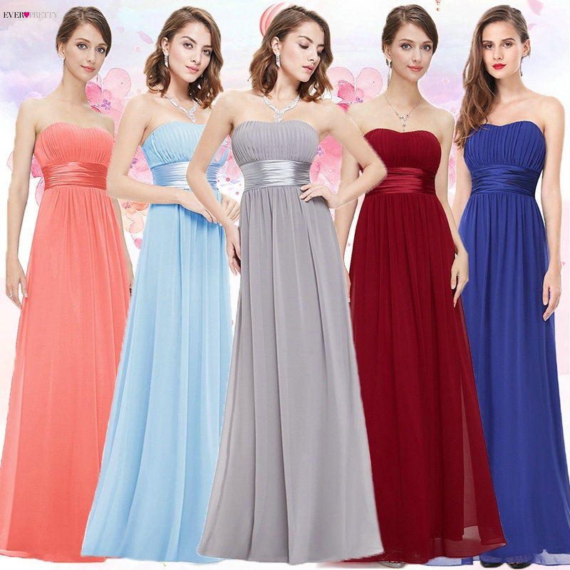 Prom     Dresses   Ever-Pretty EP09955 Strapless Ruched Bust Blue Red Black Chiffon Long Vestidos Evening Gowns for Wedding Guest