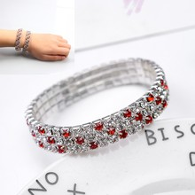 SUKI New Round Trendy Women 3 Row Bling Clear Red Crystal Glass Stretch Bangle Bracelet Shine Wedding Bridal Wristband Gift(China)