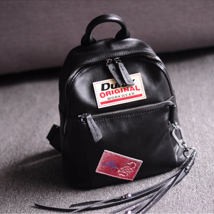 ФОТО New School Bags for Girls Italian Famous Brand Women Cowhide Genuine Leather Backpack Vintage Black Backpack for Teenagers 33075