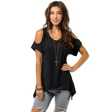 Summer Women's T-shirts Solid O-Neck Off Shoulder Tee Top Casual Loose Asymmetric Tee Shirt Plus Size Women Clothes