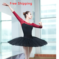 Sexy Lace 3 4 Long Sleeve Stitching Cotton Spandex Leotard Suit Girl Adult Women Ballet Gymnastic
