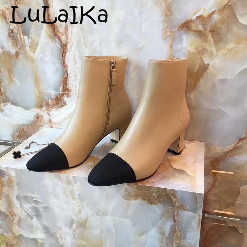 2018 Echtem Leder Beige Zip Seite Frauen Stiefel Spitz Chunky Ferse Schuhe Frauen Buchstabieren Farbe Sexy Party Frau Hohe Ferse Boot Moderate Kosten