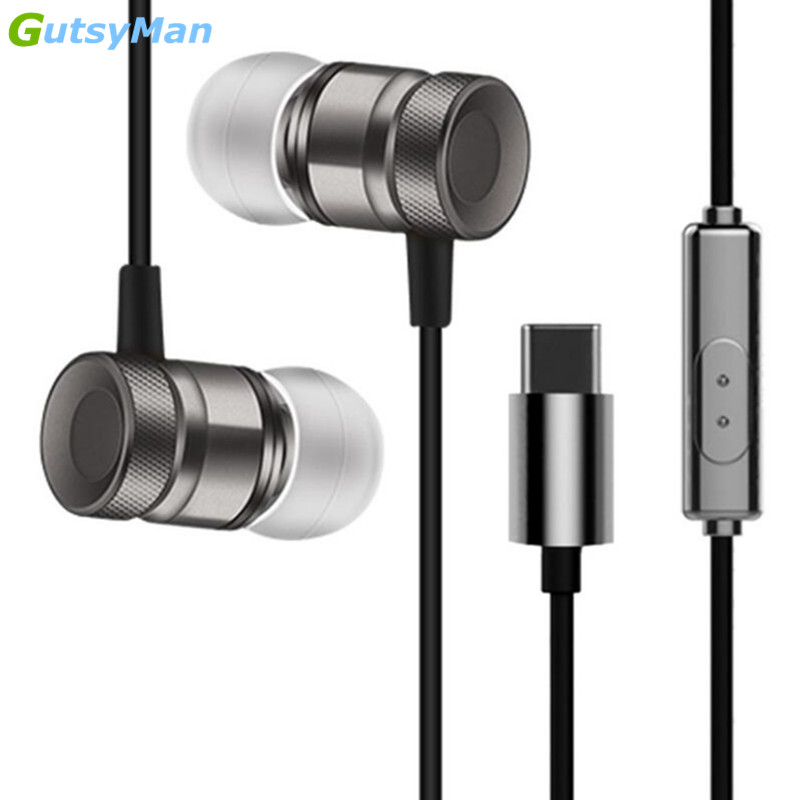 GutsyMan Type-C In-Ear Metal Earphone Wire Control Headset Type C Digital Earphone Earbuds For Letv LeEco Le 2 max 2 Pro 3 Mp4 leather case flip cover for letv leeco le 2 le 2 pro white