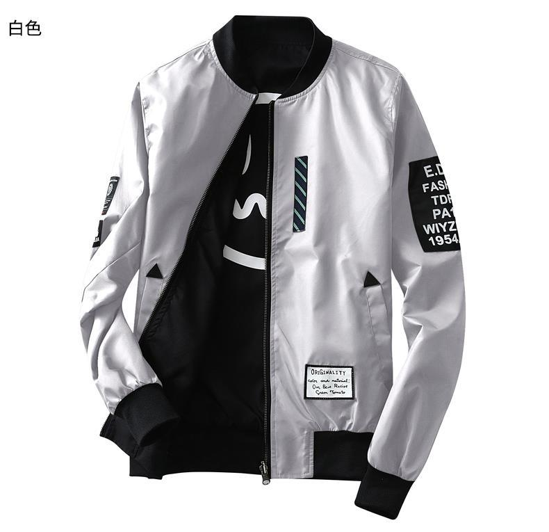 Thin Pilot Delicate Stand-neck Clothes Men Wind Breaker Jacket Bomber Both Side Jacket Men Pilot With Patches Green Wear