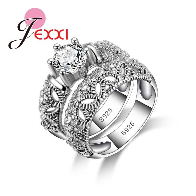925 Euro stříbrné snubní prsteny sady pro ženy Elegantní luxusní svatební prsteny zásnubní Bijoux Lady White CZ Party Bague