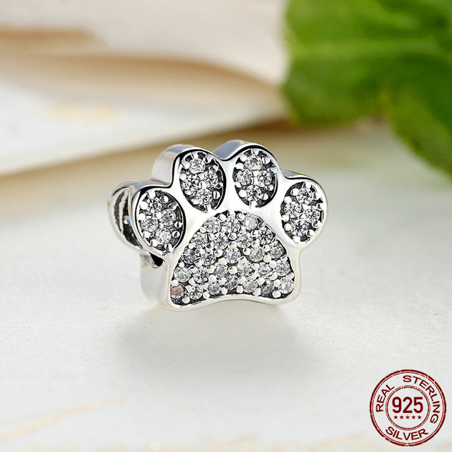 d58e06bec Hot Selling Real 925 Sterling Silver Paw Prints Charm Fit Original Pandora  Bracelet & Necklace Bangle Authentic Jewelry Gift