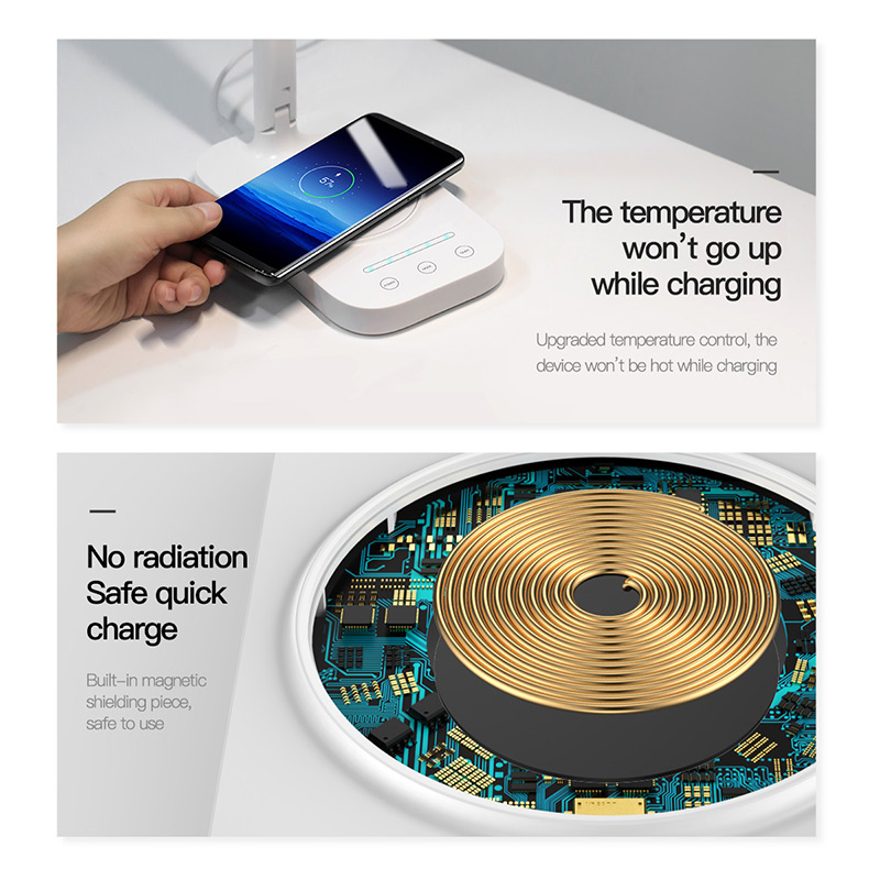 Baseus Lamp Qi Wireless Charger for iPhone XS Max X Foldable Table Desktop Desk LED Light Fast Wireless Charging Pad for Samsung 1