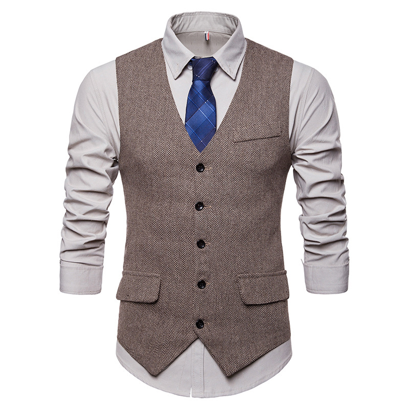 New Fashion Men's Business Casual Suit Vest Single Breasted Vintage Design Vest Cashmere Blends Olid Color Vest Tops Large Size
