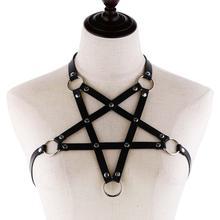 Сексуальное кожаное ожерелье KMVEXO в стиле аниме Harajaku для женщин и мужчин, готический бюстгальтер, летнее богемное украшение для вечеринки, п...