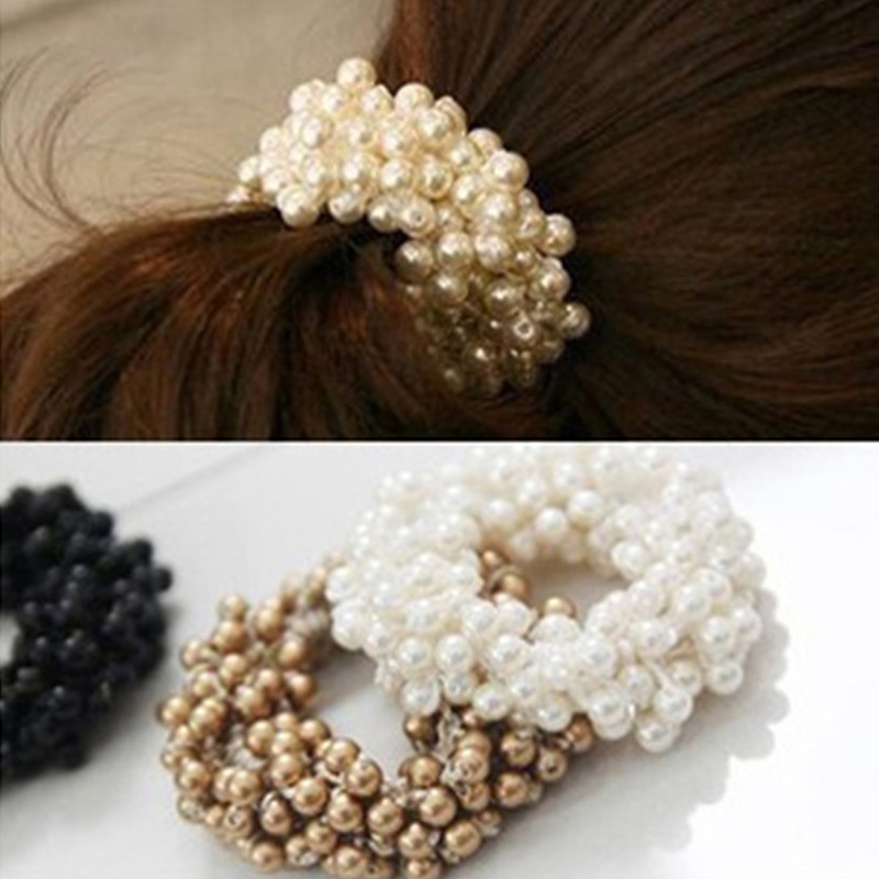 1PCS Fashion Pearl Headwear Elastic Hair Bands Hair Elastic Rubber Rope Ring Tie Hair Accessories Scrunchy Headband For Women metting joura vintage bohemian green mixed color flower satin cross ethnic fabric elastic turban headband hair accessories