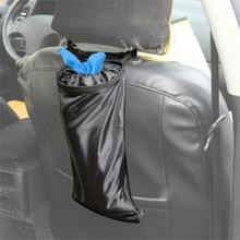 1pc New Universal Car Black Seat Back Litter Bag Trash Garbage Hang Holder Container Storage Bin Home Office Fast Shipping