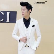 Mens Off White Tuxedos With Pants 3 pieces / Set (Jacket+Vest+Pant) Wedding Suits for Men Korea Design Slim Fit Dress Costume