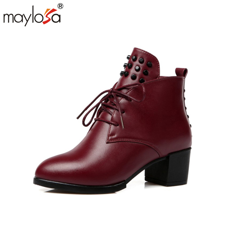 MAYLOSA high heels pumps square toe genuine leather shoes women ladies black Sexy chaussure femme Spring Casual shoes 3 inch autumn horsehair platform square toe creepers high heels yellow ladies green wedge shoes genuine leather wine red pumps