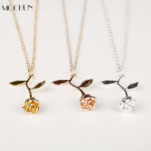 MQCHUN 3D Rose Necklace Personalized Custom Charm Necklace Final Rose Flower Beauty and the Beast Jewelry Women Girls Party Gift(China)