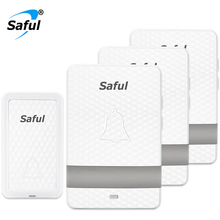 Saful Wireless Doorbell Waterproof 25-110dB Push Button No Battery Self-powered