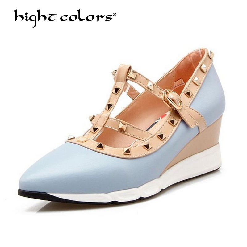 New 2017 Spring Fashion Ankle Strap Pointed Toe T Strap Rivet Side Empty Sexy Thin Heel Shoes Women High Heels Shoes FF1219 2018 women high heel party pumps wedding sexy shoes lady thin heels 9 cm ankle buckle strap pointed toe rivet nightclub fashion