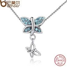 BAMOER Nueva Moda 925 Cristales Azules de La Mariposa Colgante de Collar de Plata de Ley para Las Mujeres de Compromiso Joyería Fina CC030
