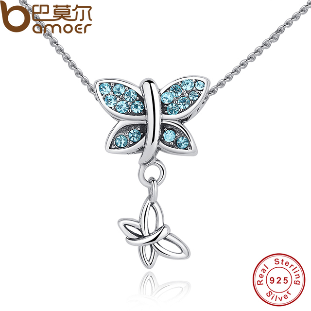 Sterling Silver Blue Crystals Butterfly Pendant Necklace