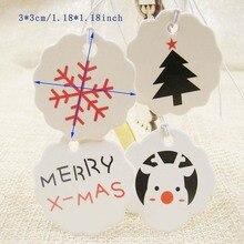 1000 Stücke pro los 1,18 zoll runden weißen papier frohe weihnachten Geschenk Tags Papier Tags Karten DIY Partydekorationen hängen tag label