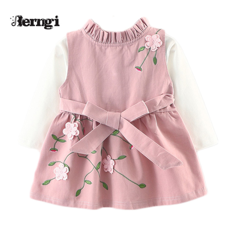 Berngi Baby Girl Clothing sets New autumn Kids toddle Clothes embroidery Vest skirt+long sleeved Cotton shirt two pieces suits