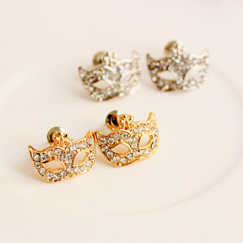 Crazy Sales Fashion Hot Womens Accessories Full Rhinestone Magic Mask Stud Earrings Stylish Earrings