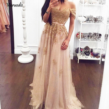 Sparkle Gold Beaded Lace Long Evening Dresses Fashion Appliques A-line Gowns V-neck Off Shoulder Lady Formal Dress  1