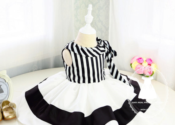 New Style Toddler Halloween Dress with Black and White Stripes Baby princess Dress for 1st Birthday Party