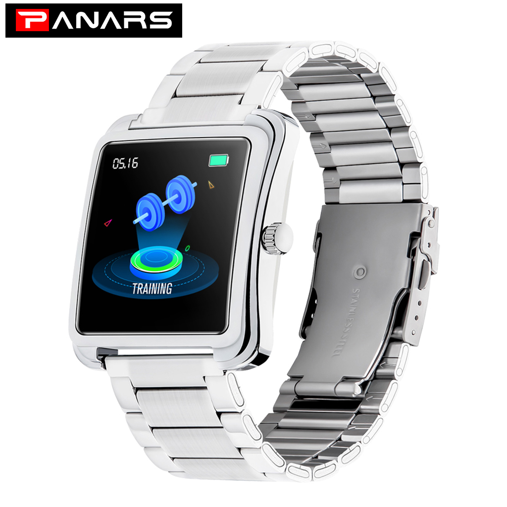 PANARS New Arrival Fashion Casual Men's Women's Smart Watches Rectangle IP67 Waterproof Steel Band Alarm Message Reminder Watch