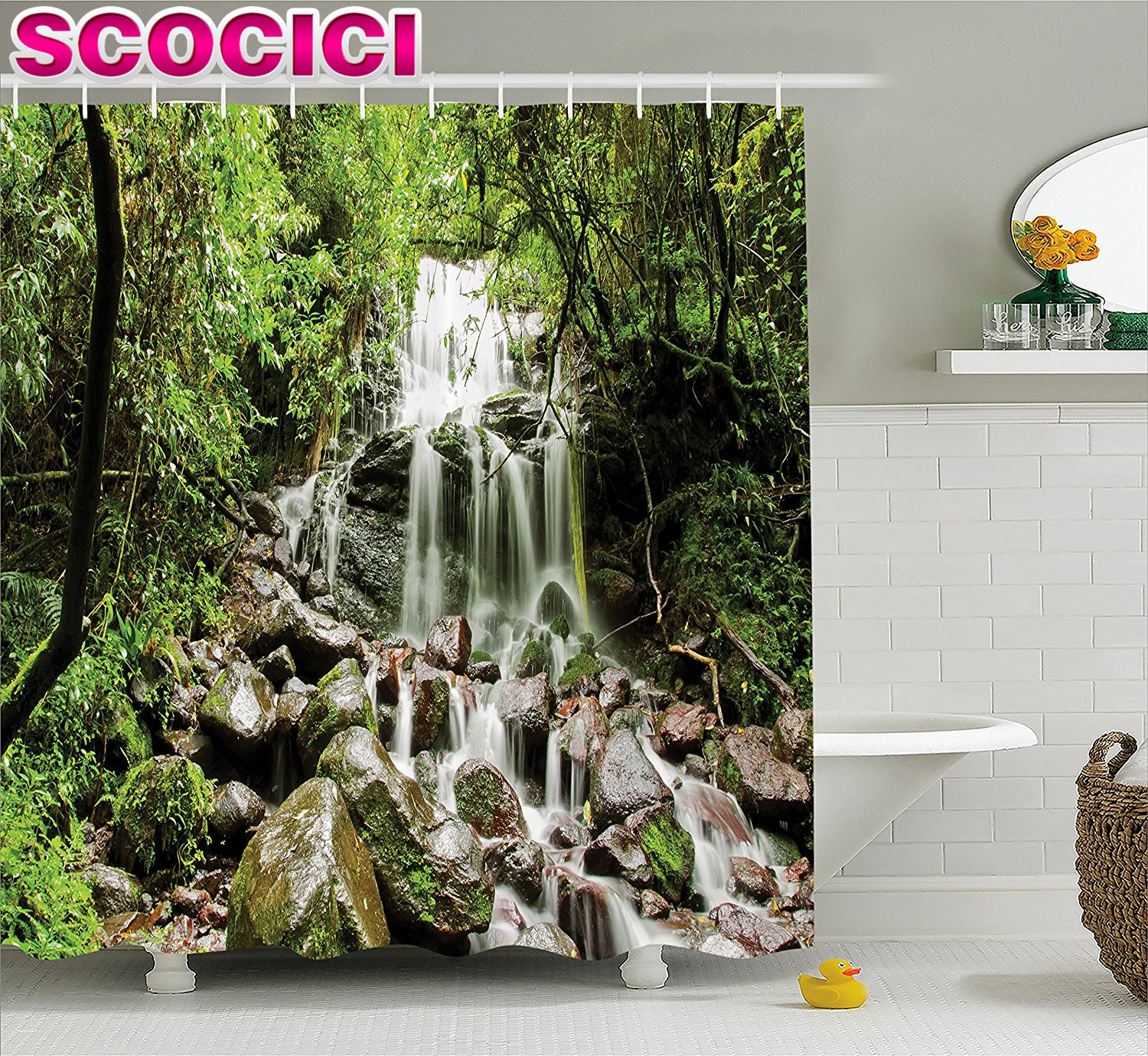 Waterfall Decor Shower Curtain Rain Forest With Waterfall On Rock Stones  Foliage Dense Lush Habitat Climate Art Fabric Bathroom