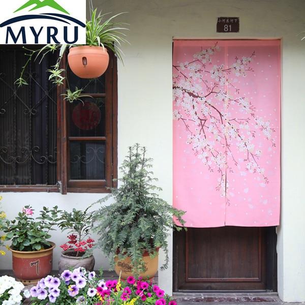 MYRU Japanese cherry blossom pink door curtain Feng Shui bedroom ...