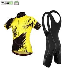 WOSAWEサマーサイクリングウェアクイックドライ通気性サイクリング半袖ジャージパッド入りビブショーツセットMTBロードバイク服