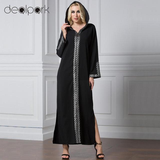 b7c1c56d0d6 Fashion Women Middle East Hooded Dress Long Sleeve Side Slit Muslim Robe  Islamic Arabia Abayas Maxi Dress vestidos Plus Size 7XL