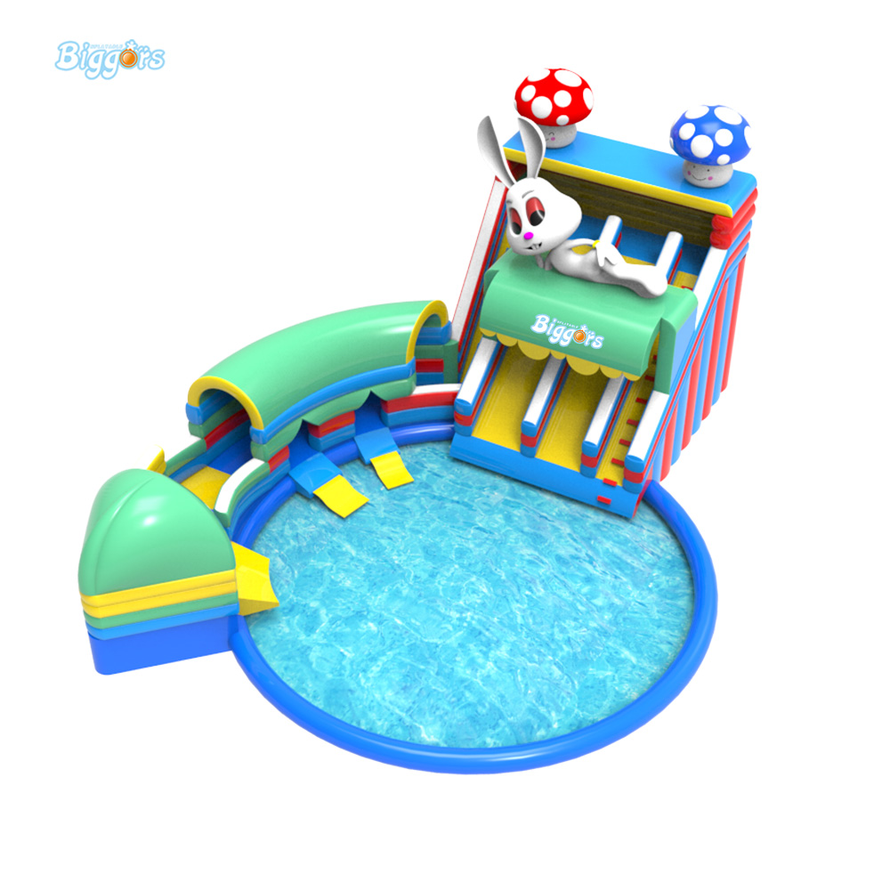 Free blower inflatable floating slide water park use climbing slide for sale