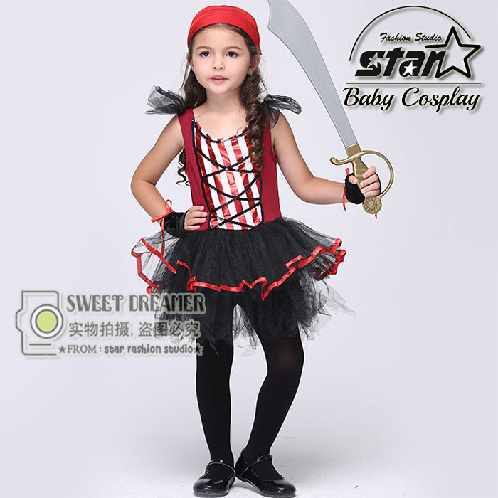Cute Funny Baby Girls Dress Halloween Cosplay Costume Striped Pirate Kids Cosplay Dresses Kids Clothes Costumes Menina Vestidos girlondon girlondon gi023ewhgf97