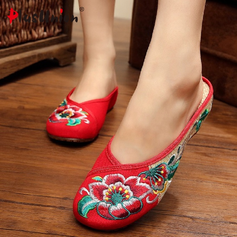 floral embroider slippers canvas denim red ladies designer shoes house fashion women wedge indoor home sandals flowers shoe