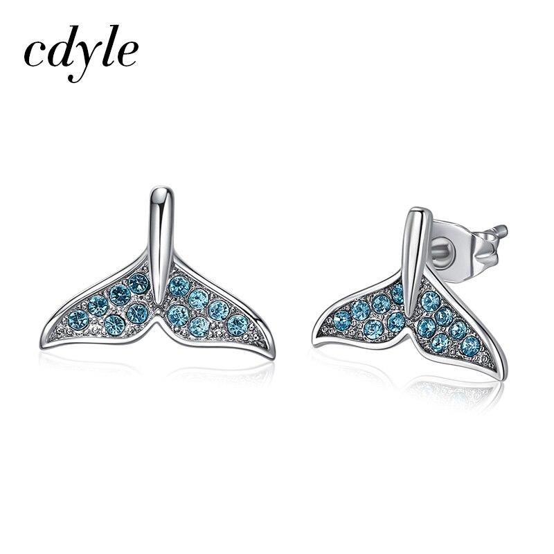 87a0929def6c Cdyle Crystals from Swarovski Mermaid Tail Stud Earrings 925 Sterling Silver  Ocean Sea Style Earring for Women Wedding Jew -in Stud Earrings from  Jewelry ...