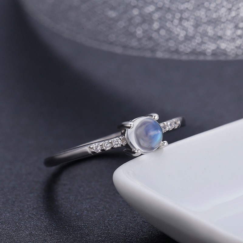 925 Sterling Silver Round Natural Moonstone Accent Rings For Women Wedding Engagement Jewelry Finger Anillos Bague Aneis Anillo 925 sterling silver pear natural blue moonstone accent cz rings for women wedding engagement jewelry finger anillos bague anillo