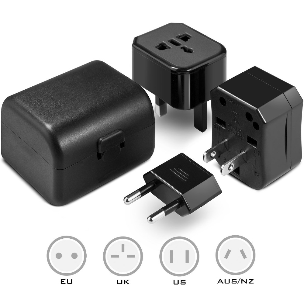 Universal Travel Adapter Plug Fits Wall Worldwide AC Adaptor Outlets in US, EU, AU, UK and More High Quality, SGS, CE Approved