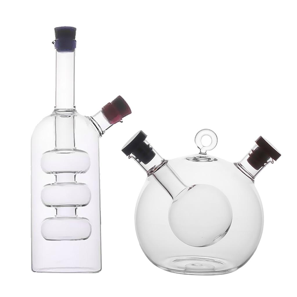Glass Olive Oil Dispenser Bottle Storage Round Pot Shape Oil and Vinegar Bottle