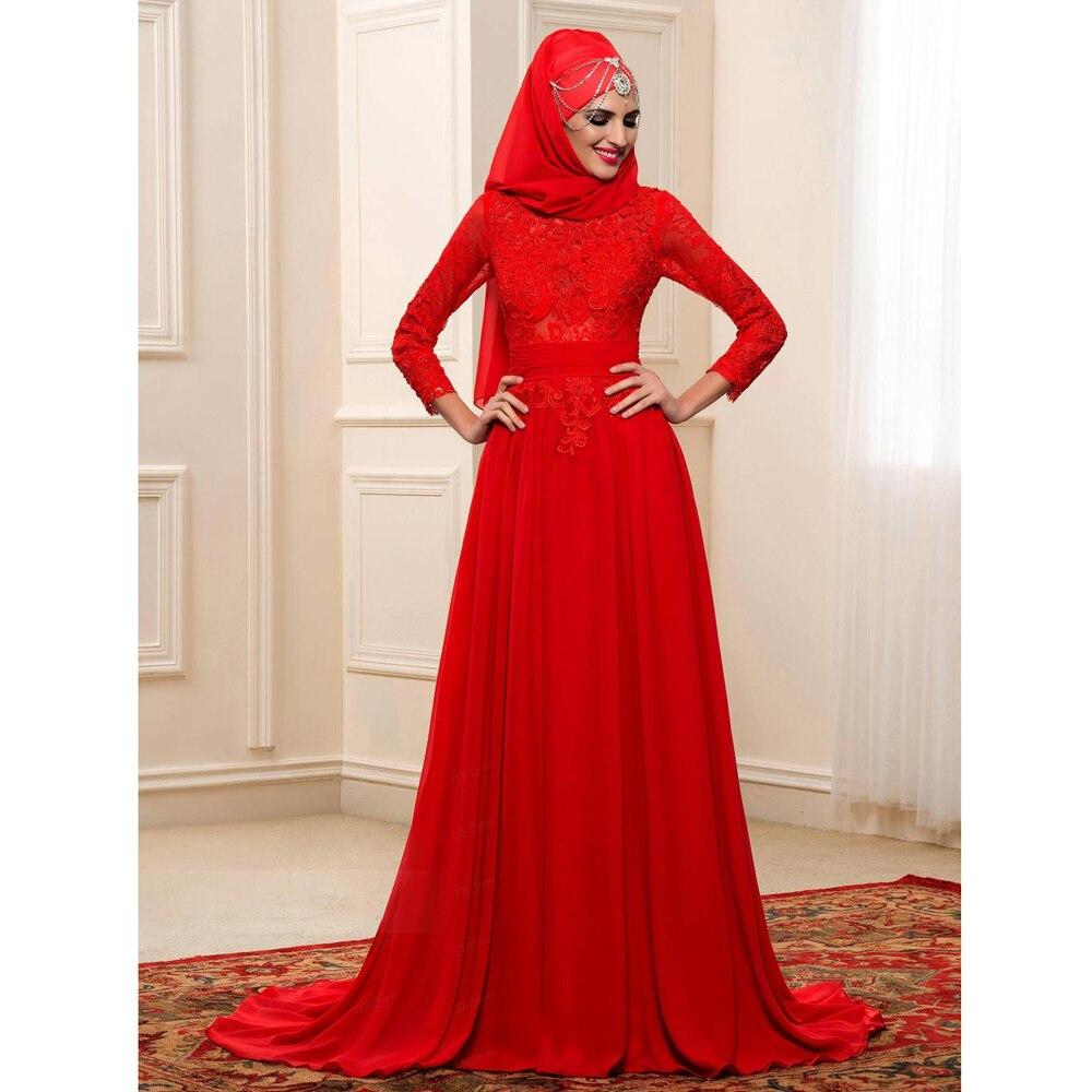 2016 Muslim Red Wedding Dresses Long Sleeves Applique High Neck Arabic font b Hijab b font