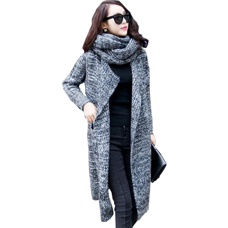 Long Cardigan Coat 2016 Autumn Winter Sweater Women New Loose Large Size Pull Femme Knit Sweaters With A Scarf Vestidos MMY053