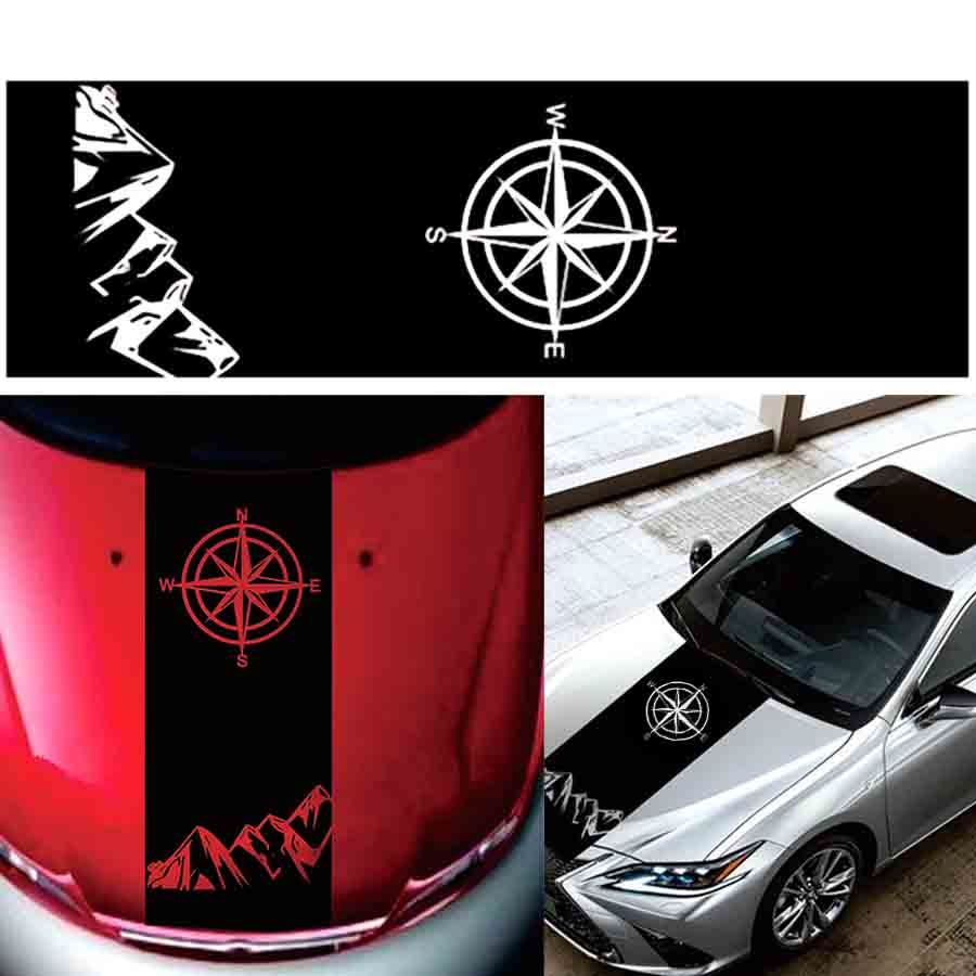 Compass Mountain Decal Hood Graphic Vinyl Car Sticker For Toyota Hilux Revo Vigo Pickup Off Road
