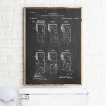 Rollo de papel higiénico lienzo de patente impresiones y póster arte de pared, rollo de papel higiénico Vintage pintura cuadro decoración Pared de baño