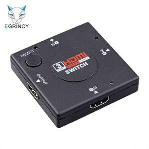 Лидер продаж, 1 шт., опт, мини Коммутатор HDMI с 3 портами, сплиттер, 3 входа, 1 выход, Селекторный кабель HDMI для PS3/4 HD TV 3D 1080P Video