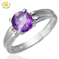 Real Purple Amethyst 6mm Gemstone Ring Genuine Pure 925 Sterling Silver Brand Fine Jewelry February Birthstone