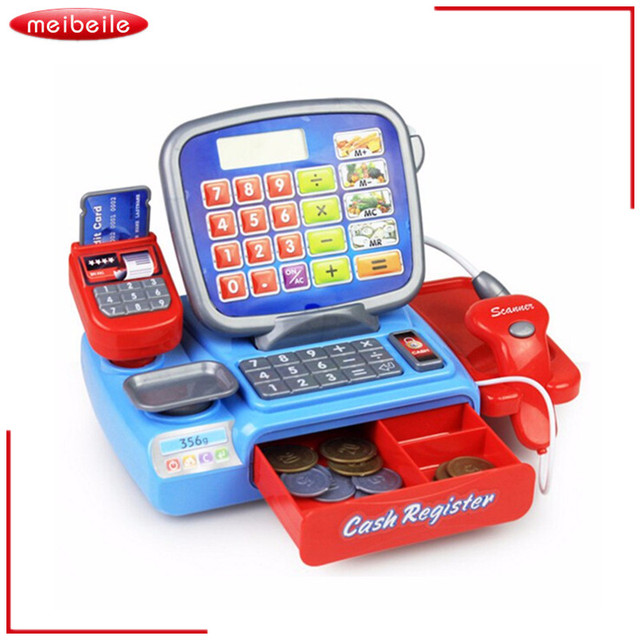 pretend play props for kids toy cash register with a real calculator and toy vegetable and coins. Black Bedroom Furniture Sets. Home Design Ideas