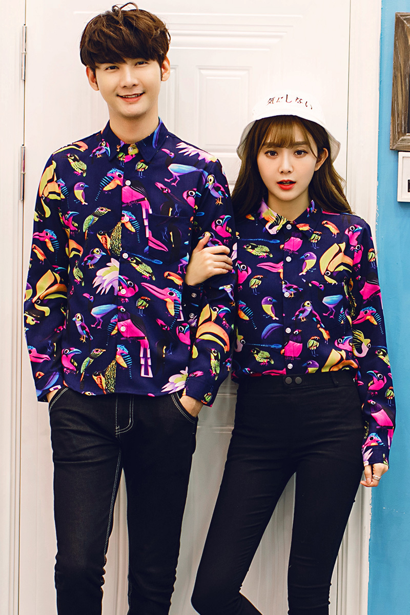 ac9d15d9558d24 2017 new spring men fashion floral shirts men women high quality bird print  shirt for lovers plus size 3XL 4XL 5XL-in Casual Shirts from Men s Clothing  on ...